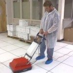 We clean and polish raised flooring panels.